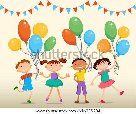 School Children Are Jumping With Balloons Birtday Party Background Bunner Cartoon Funny Ready For Your Message