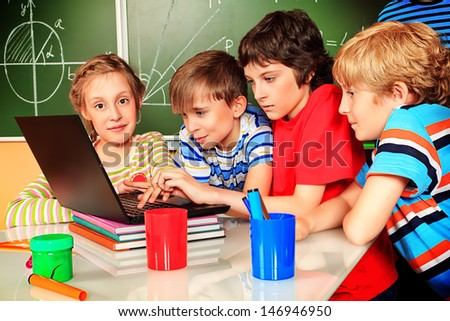 School children studying at school. Education. - stock photo