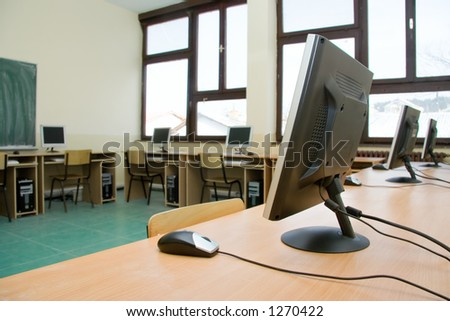 School classroom full with computers