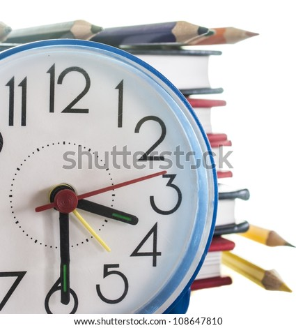 school composition,pencils, books and clock, isolated on white - stock photo