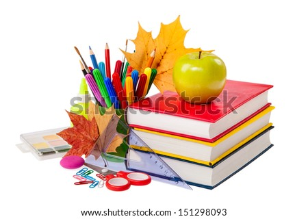 School concept - books, leaves, apple and stationery isolated on a white background