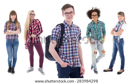 school concept - handsome teenage boy and four beautiful girls isolated on white background - stock photo