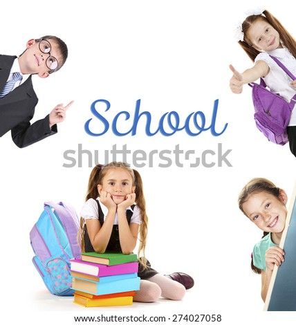 School concept. Schoolchildren isolated on white