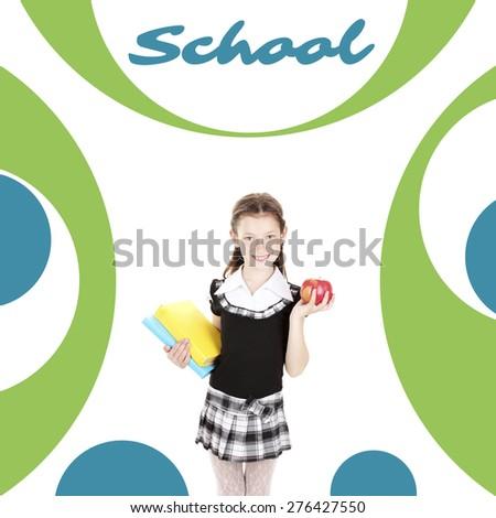School concept. Schoolgirl on abstract background - stock photo