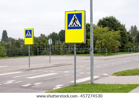 School crossing signs in a residential community