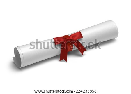 School Degree with Red Ribbon Isolated on White Background. - stock photo