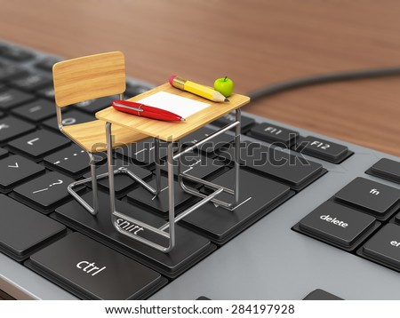 School desk and chair on the keyboard. Online traning concept. - stock photo