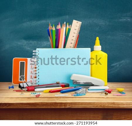 School, desk, closeup. - stock photo