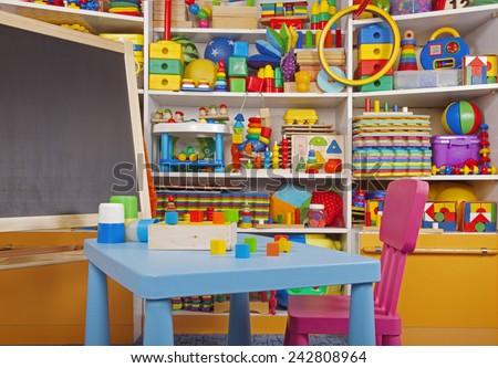 school desk in the children room - stock photo