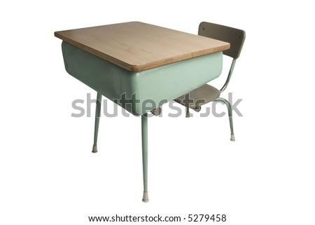 school desk isolated on white - stock photo