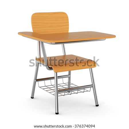 School desk with chair isolated on white background - stock photo
