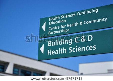 School direction sign - stock photo
