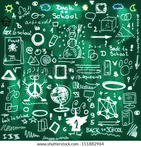 School Doodle background and texture - stock photo