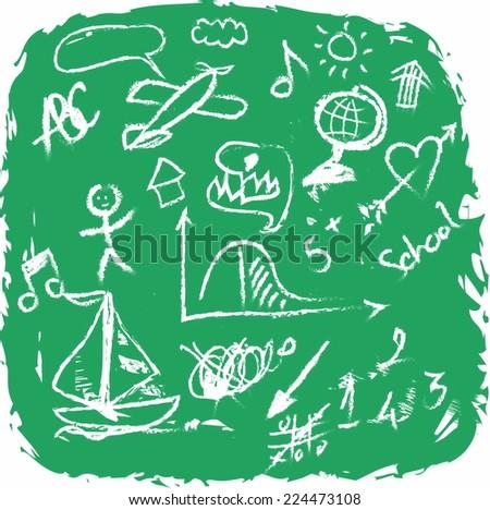 School Doodle grunge texture - stock photo