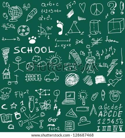 School Doodle texture - stock photo