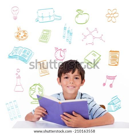 School doodles against cute pupil reading - stock photo