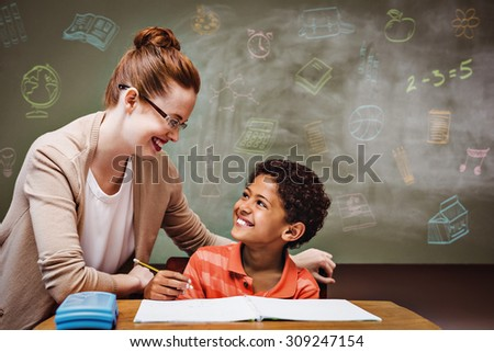School doodles against teacher assisting little boy with homework in classroom - stock photo