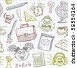 School doodles seamless background - stock photo