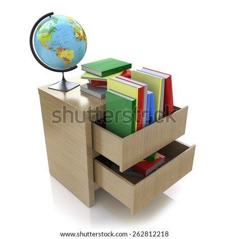 School education concept. Textbooks, globe. 3d  - stock photo