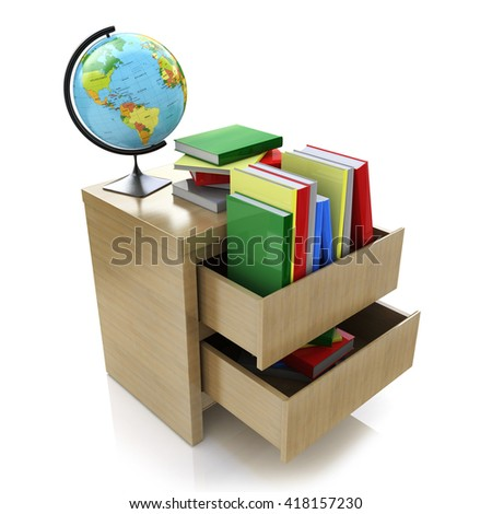 School education concept. Textbooks, globe. 3d in the design of information related to education and knowledge. 3d illustration - stock photo