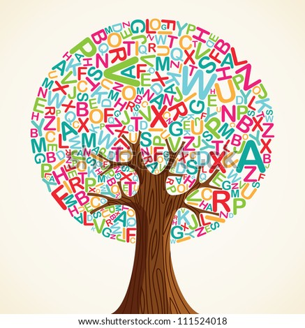 School education concept tree made with letters. - stock photo