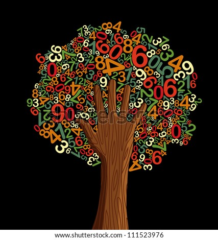 School education concept tree made with letters and human hand.