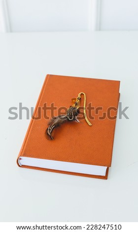 School, education. Orange book on the table - stock photo