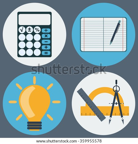 School Education Round Icons Set. Different objects used in daily life education. Calculator, Notebook with Pencil, Light Bulb, Compass and Rulers. Raster digital illustrations. - stock photo