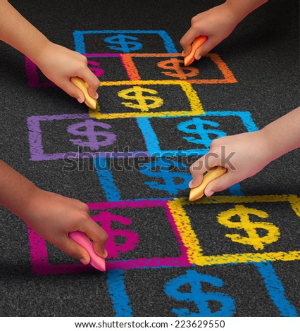 School financing and education business concept as a group of children drawing a hopscotch game on a floor with dollar signs as a symbol of student loans and paying for schooling fees. - stock photo