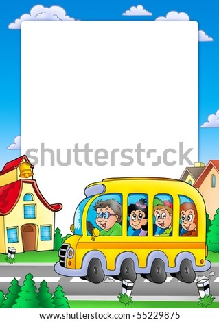 School frame with bus and kids - color illustration. - stock photo