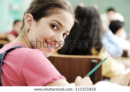 School girl at classroom - stock photo