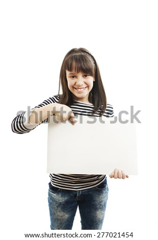 School girl holding blank sign. Isolated on white background - stock photo