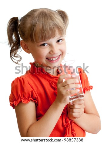School girl portrait with water glass isolated - stock photo