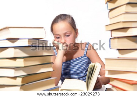 School girl reading book on white background - stock photo