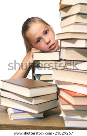 School girl with pile of books on white background