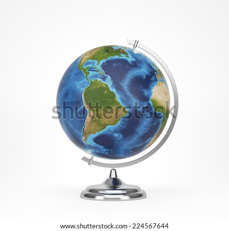School globe, South america view. Elements of this image furnished by NASA