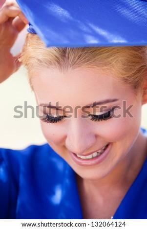 School Graduation Pretty Blonde woman - stock photo