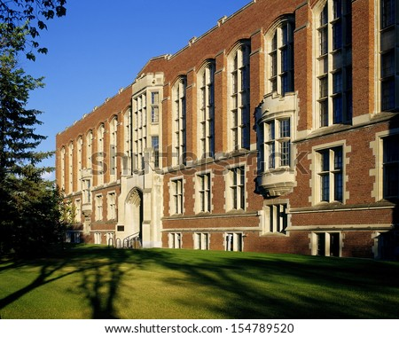School, Historic College Avenue Campus University building - historic architecture in Pseudo-Gothic style in Regina, Saskatchewan, Canada - stock photo