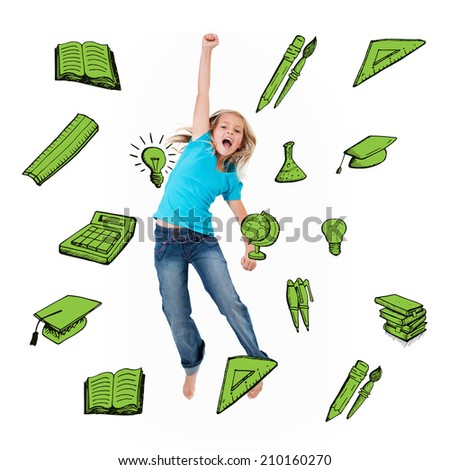 School icons against excited little girl jumping - stock photo