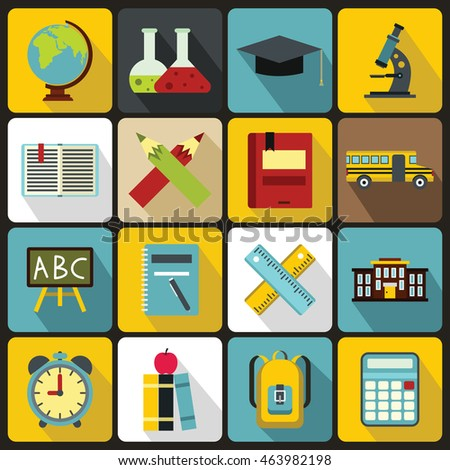 Illustration Flat Icons Elements Objects High Stock Vector