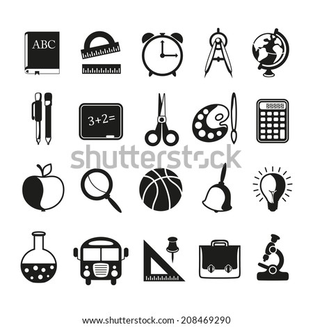 school icons set on white background - stock photo