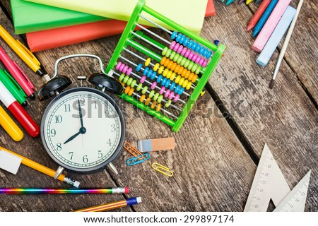 School items on a wooden table