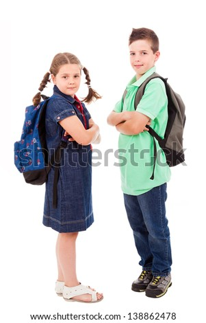 School kids over white background - stock photo