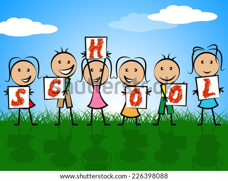 School Kids Representing Educated Schooling And College - stock photo