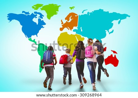 School kids running in school corridor against blue vignette background - stock photo