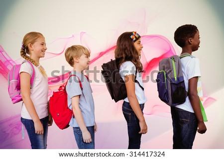 School kids standing in school corridor against pink abstract design - stock photo