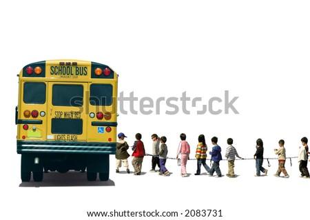 School kids (students) boarding a school bus - stock photo