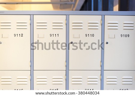 School locker made with metal in a line - stock photo