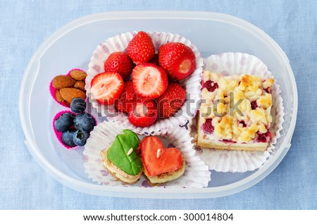 school lunch box for kids. the toning. selective focus - stock photo