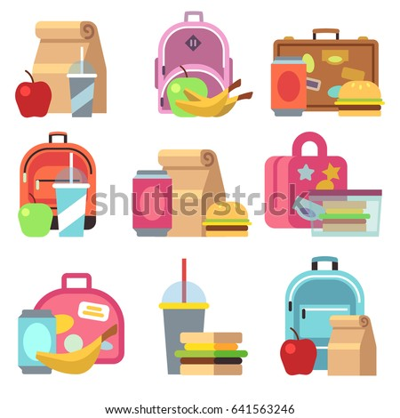 School Lunch Food Boxes And Kids Bags Flat Icons Box Fot Lunchtime Breakfast